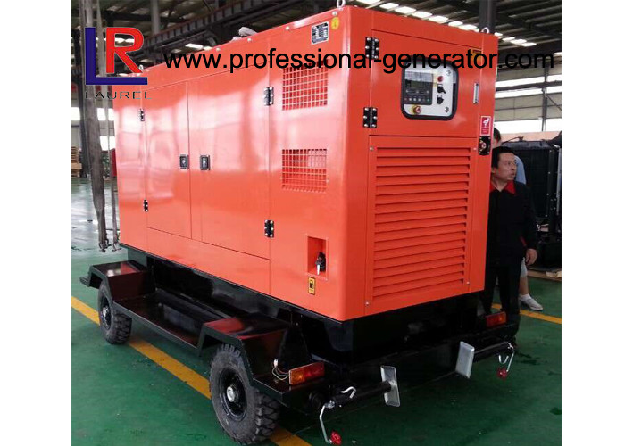 Water Cooled 100kVA Diesel Trailer Generator Cummins Engine With Soundproof Canopy